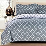 Lux Decor Collection Duvet Cover Set, 1800 Count Egyptian Quality King Soft Premium Bedding Collection, 3 Piece Luxury Soft, 2 Pillow Shams (Grey/White, King/California King)