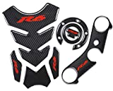 yamaha r6 tank pad - REVSOSTAR Real Carbon Fibre Gas Cap, Triple Tree Front End Upper, Top Clamp Decal Stickers, Tank Pad, Tank Protector for R6, 3 Pcs Per Set