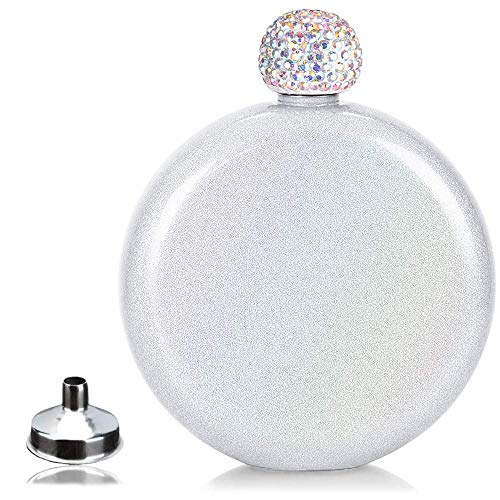 Cute Liquor Flask for Women,Junya Pretty Glitter Coating Whiskey Steel Flasks,Shining Rhinestone Cap,Portable Wine Flask for Drink Wedding Gifts for Women,5 oz (White)