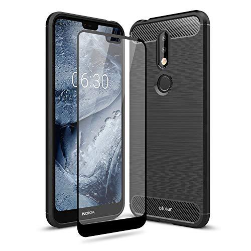 Olixar - Custodia con Pellicola Proteggi Schermo Compatibile con Nokia 7.1-360°, Vetro temperato da Bordo a Bordo, Protezione Robusta Anteriore e Posteriore, Sentinel, Colore: Nero