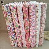 Amesii, tessuto di cotone a pois e fiori per cucito e fai da te, 25 x 25 cm, 7 pezzi  rosa