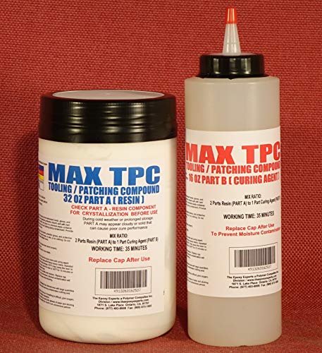 MAX TPC A/B Epoxy Patching Compound, Void Filling, Concrete Crack Repair, Boat Hull Patching Compound, Wood Rot Repair, Automotive Body Repair, Surface Filler, Machine & Sandable Crack Fill 48 Fl.OZ