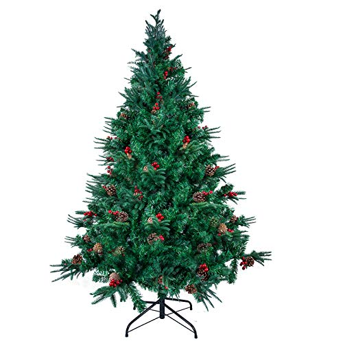 Unlit 7FT Artificial Christmas Tree, Premium Hinged Fir Christmas Tree, Easy Assembly with Metal Stand, Xmas Decoration for Indoor and Outdoor,with PVC+PE+Pine Cone+Red Fruit