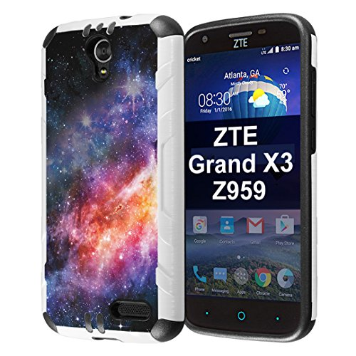 Capsule Case Compatible with ZTE Grand X3, ZTE ZMAX Grand, ZTE ZMAX Champ, ZTE ZMAX 3, AVID 916, ZTE Warp 7 [Slim Dual Layer Combat Case White and Black] - (Space)
