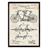 Nacnic Stampa artistica sfondo vintage. Rappresentazione in primo piano di bici d'epoca, brevetto bicicletta tandem, mezzi di trasporto antichi. Stampe invenzioni, brevetti. Decorazioni domestiche.