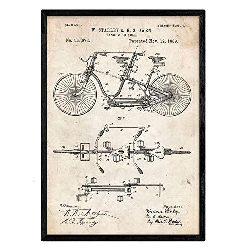 Nacnic Poster patentierte Tandem-Fahrrad. Blatt mit altem Design-Patent in der Größe A3 und Vintage-Hintergrund