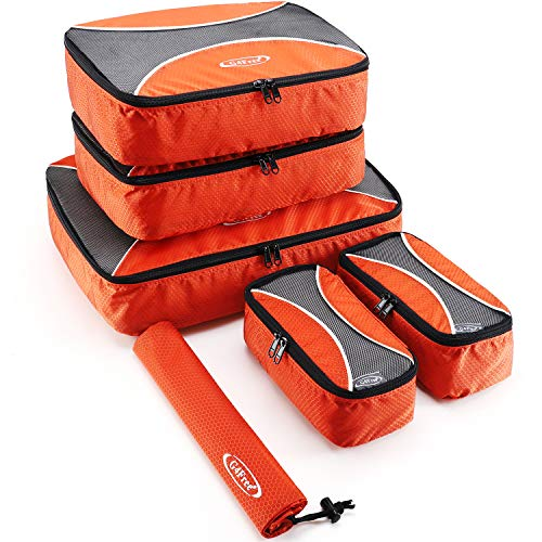 G4Free 6 pcs Packing Cubes Value Set for Travel Luggage Organizers