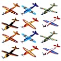 Kicko Flying Glider Planes - Toys for Party, Kids and All Ages - Hand Launch - Easy Assembly - Styrofoam Assorted, 8 Inch - Set of 12 by KCO Brands