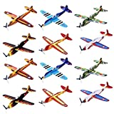 Kicko 12 Pack of Flying Glider Planes - Toys for Party, Kids and All Ages - Hand Launch - Easy Assembly - Styrofoam Assorted - 8 Inch