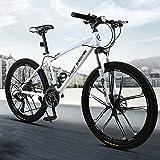 Bicicleta de montaña, Adultos Bicicleta De Montaña, 26 'speed speed wheels Marco De Acero De Carbono 21/24/27 Bicicleta De Velocidad Completer Bici Compuster Bici Dual(Size:21 speed ,Color:blanco)