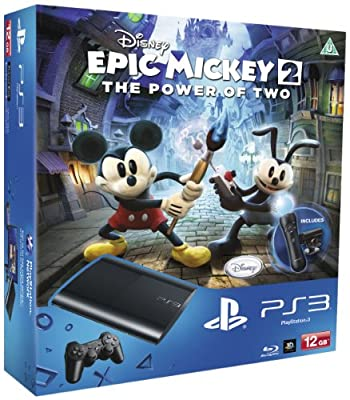 Sony PlayStation 3 12GB Super Slim Console with Epic Mickey 2, Move Controller and Camera (PS3)