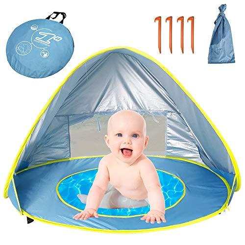 Faster Baby Pop Up Beach Tent, Kid Beach Tent Portable Shade Sun Shelter, Shelter UV Protection Toddler Pool Tent Play Tent with Removable Pool-Includes Carry Travel Bag & Tent Pegs
