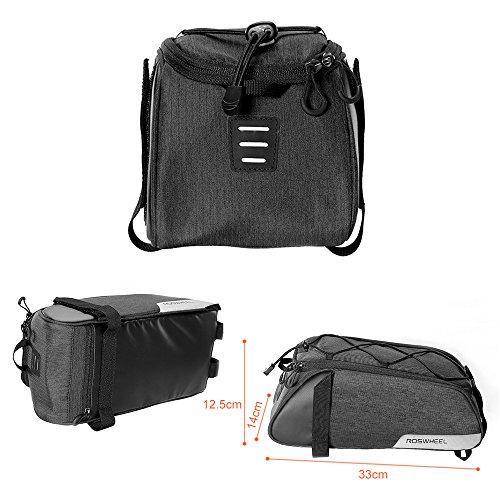 Roswheel Fahrradtasche Fahrrad Satteltasche Gepäcktasche Gepäckträger Tasche Rucksack Seitentasche 7L Schultertaschen Reflektierender(2018 Neuer Stil) - 3