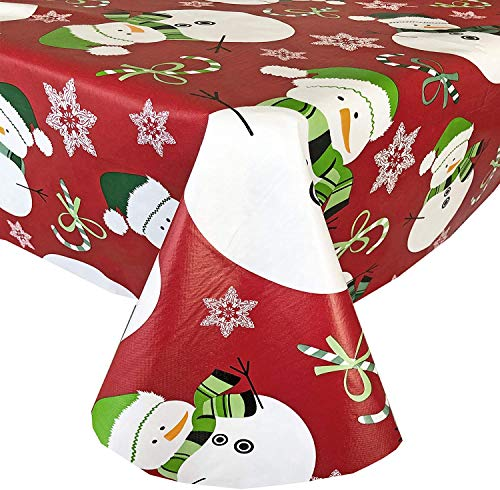 "Newbridge Red Swirling Snowman Print Flannel Back Vinyl Christmas Tablecloth - Adorable Snowmen, Candy Canes and Snowflakes Xmas Wipe Clean Easy Care Tablecloth, 60"" x 102"" Oblong/Rectangle"