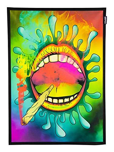 PSYWORK Schwarzlicht Stoffposter Neon Happy Joint, 0,5x0,7m