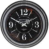 MAYF–Living Reloj de Pared Reloj de Cocina Shabby Chic Negro Metal Diámetro 45cm Vintage XXL Antiguo Viejo Retro, Kensington Station