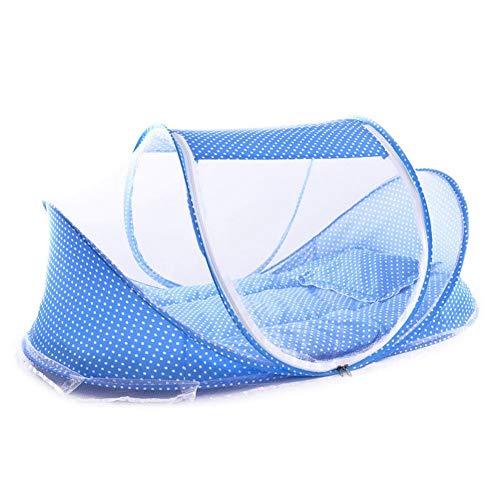 Willlly Portable Doux Berceau 0 3 Casual Ans Chic Literie Moustiquaire Pliable Lit Coton Sommeil Voyage Lits Lits Berceaux Coussin Tapis Ensemble Ensemble (Color : Bleu, Size : Size)