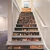 FLFK 3D Bücherregal Selbstklebend Treppe Aufsteher Wandmalerei Vinyl Abziehbild Tapezieren Aufkleber 39.3Zoll x7.08Zoll x 13stücke
