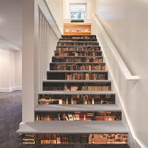 FLFK 3D Bücherregal Selbstklebend Treppe Aufsteher Wandmalerei Vinyl Abziehbild Tapezieren...