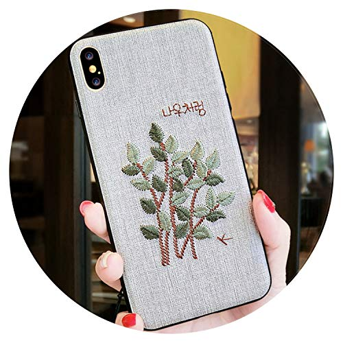 Fashion-Lover Funda de teléfono para iPhone X XR XS MAX con diseño floral para iPhone 6, 6S Plus, 7, 8 Plus, hojas, color beige, para iPhone XR