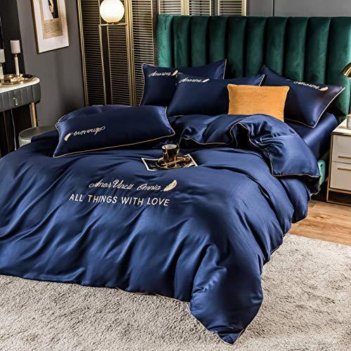 juego de funda de edredón 3d,Juego de cuatro piezas de seda europea de verano, seda de hielo de doble cara fresco, seda, cama satinado cama individual, transpirable suave suave y cómodo familia de la