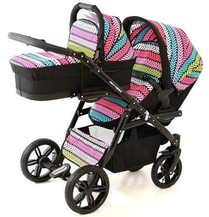 Carro doble niños diferentes edades. 2 sillas + 1 capazo. Onyx Tandem BBtwin cochecito gemelar (multicolor)