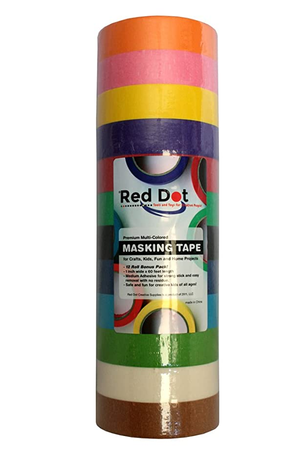 Red Dot Colored Masking Tape - 12 Colors,12 Jumbo 1