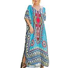 Tyidalin Kaftan Vestido Maxi Largo Playa Mujer Verano Estampado Camisolas y Pareos Bohemio Kimono Cover Ups (Color 4, Talla única)