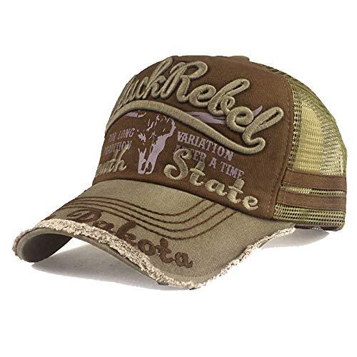 Trucker Mesh Baseballcap Black Rebel Western Distressed Vintage Retro Sommer Cap (grün/braun)