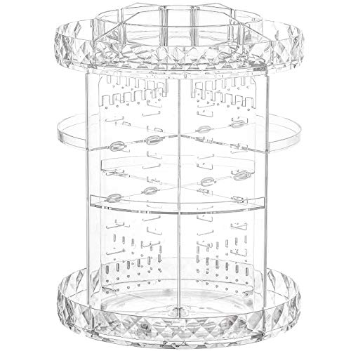 Clear Makeup Organizer, 360 Rotating Cosmetic Display Cases Adjustable Bathroom Vanity Stand Storage, Fits Lipsticks and Skincare Products