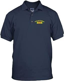 Vietnam Veteran Flag Military Embroidery Cotton Short Sleeve Polo Jersey Shirt Navy