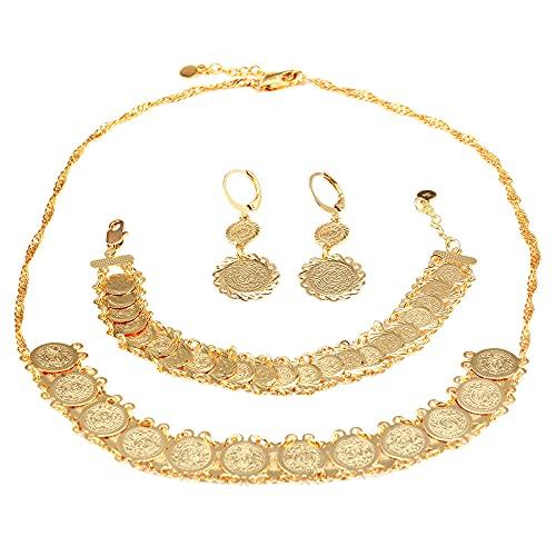 Conjunto de joyas de monedas de color dorado Conjunto de joyas de pulsera de pendientes de collar de estilo de moda para mujer