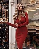 SC Vestito Sexy V Profonda Collare Pieghe delle Nuove Donne, Molla del Vestito Anca Micro-Bomba e l'autunno Abito a Maniche Lunghe,Rosso,L