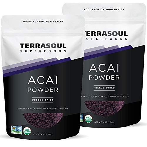 Terrasoul Superfoods Organic Acai Berry Powder, 8 Oz - Freeze-Dried | Antioxidants | Omega Fats