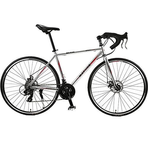 PBTRM Bicicleta Carretera 26,8 Pulgadas 700C 30 Velocidades Aleación Aluminio Velocidad Variable Freno Disco Doble Bicicleta Carretera Ciclismo para Hombres Mujeres,Plata