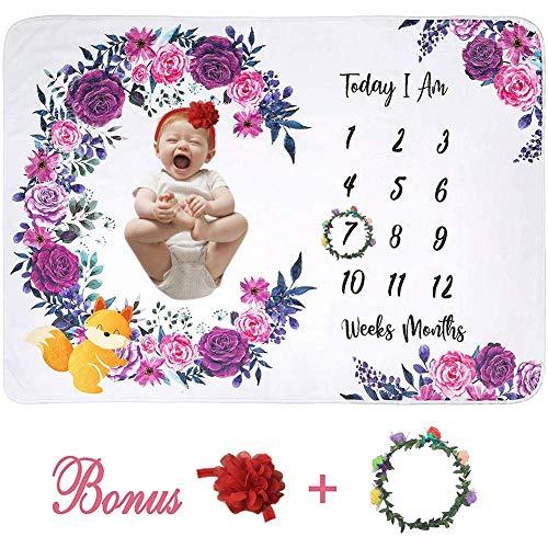 Ecisi Neugeborenes Baby monatliche Meilenstein Decke, Premium Flanell Fleece personalisierte Fotografie Hintergrund Baby monatliche Dusche Decke für Neugeborene