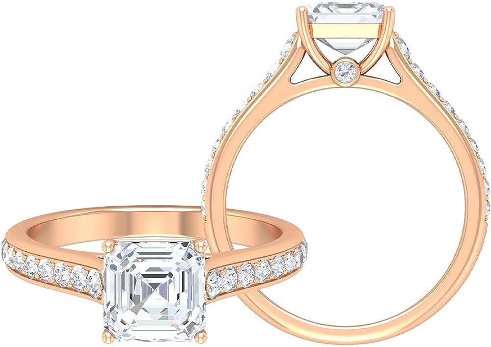 Unique Wedding Rings Set, Antique Engagement Rings, Vintage D-VSSI 1.95 CT Moissanite Rings, Side Stone Rings, Asscher Cut Solitaire Moissanite Rings, 14K Gold