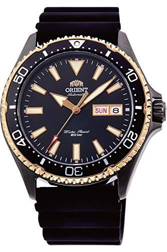 Orient RA-AA0005B Kamasu - Reloj de buceo automático para hombre, correa de silicona IP negra, esfera negra