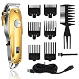 Kemei Professional Hair Clippers Hair Trimmer for Men Cordless Mens Hair Cutting Kit Kemei 1986 Pro for Barbers with LED Display Rechargeable Quite