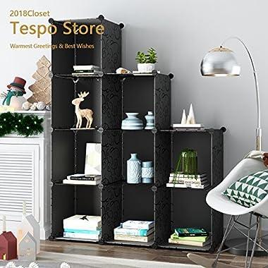 Tespo 9-Cube Modular DIY Storage Cube Organizer 4 tier Shelving Bookcase Cabinet