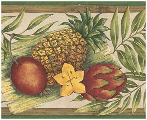 Retro Art Wand-Rand - Exotische Früchte - Sternfrucht,Drachenfrucht,Ananas,Kiwi,Blätter Tapete Border Retro Design,Vorpastiertes Rolle 15 ft x 7 in. 7