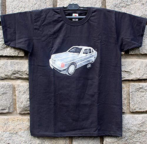 Handgemalte Mercedes Benz W 201/190 /Baby Benz 1982-1993g,Kultauto,Oldtimer,Kleidung Mercedes für Männer und Frauen,T-Shirt Mercedes Benz,Das Beste oder Nichts,Herrenauto,Größe XL.