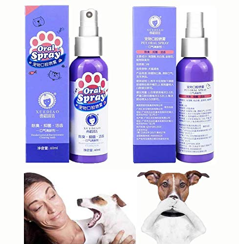 GHSY 60 ML Pet Breath freshener Oral Treatment Spray Puppy Dog Small Pets Teeth Breath Cleaning Freshener Dog Cat Dental Spray Care Cleaner