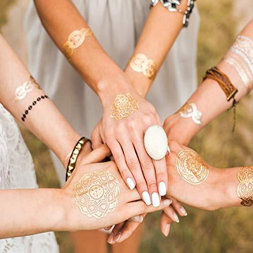 Nouveau 6 Feuille Autocollants De Tatouage De Mode Chaude Or Rétro Autocollants De Tatouage Étanche Brillant Bracelet Autocollants De Mode