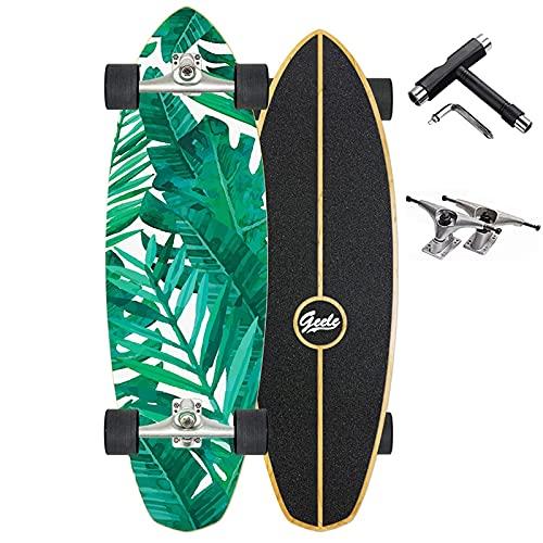 32' Cruiser Skateboard Adulto Completos Retro Vintage Boards Calle Surfskate Monopatin Skateboard Niños Niña Principiantes Longboard, 8 Capas de Madera de Arce Skate, Velocidad Rodamientos ABEC-11,E