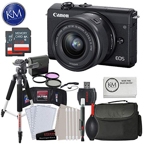Canon EOS M200 Mirrorless Digital Camera with 15-45mm Lens (Black) with Advanced Striker Bundle: Includes - Memory Card, Large Tripod, Camera Bag, and Cleaning Kit.