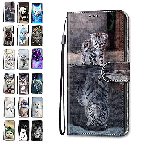 Handyhülle kompatibel für Xiaomi Redmi 9A Hülle Leder Tasche Flip Hülle Tier Lustig Muster Motiv Mädchen Damen Design mit kartenfach Etui Cover - Katze Tiger 3