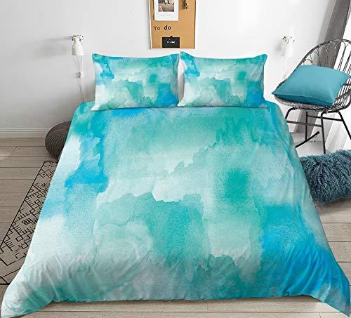 XFMF Juego de ropa de cama Tie Dye azul y lila, juego de cama de acuarela, funda nórdica de microfibra cepillada y funda de almohada, decoración de diseño, para Teen Room Decor (F,200 x 200 cm)