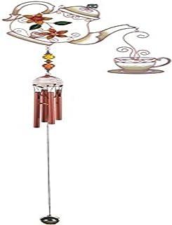 StealStreet Wind Chime Copper & Gem Teapot Hanging Garden Decoration Collection