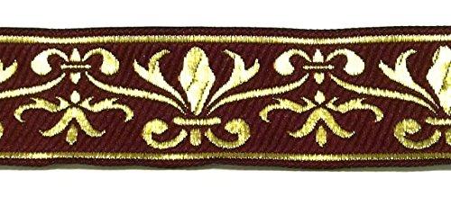 10m Französische Lilie Borte Fleur de Lis Webband 35mm Farbe: Bordeaux-Gold von 1A-Kurzwaren 35060-bogo